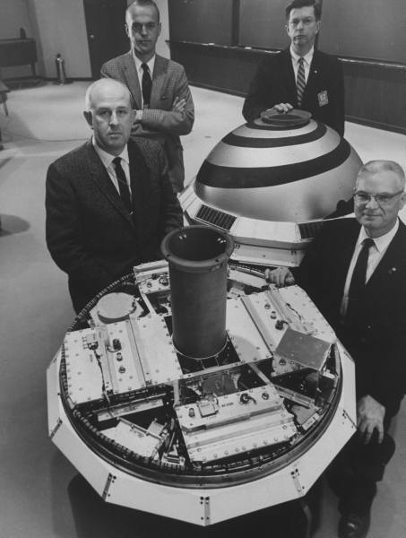 Scientists with the Transit I-B navigational satellite - April 1960