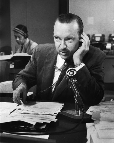 CBS newman Walter Cronkite filing a report - 1956
