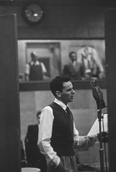Mr. Frank Sinatra during recording session at CBS - 1947