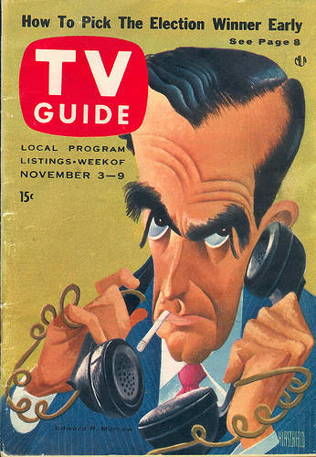 TV Guide cover from November 3, 1956 featuring Edward R. Murrow
