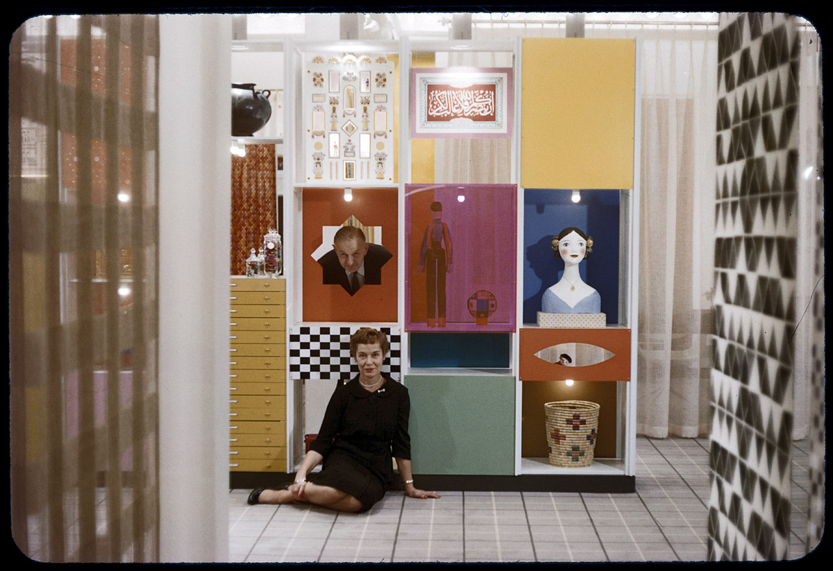 Alexander and Susan Girard at the Herman Miller showroom with stacked shape artwork