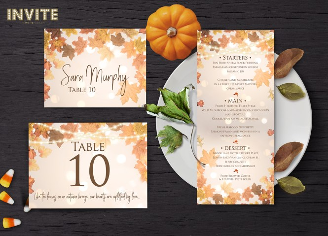 Rustic Autumn Wedding Stationery Invitations The