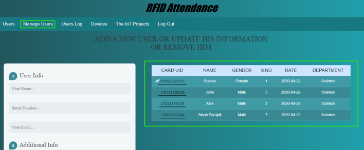 Manages Users for RFID Based Attenance System Using NodeMCU