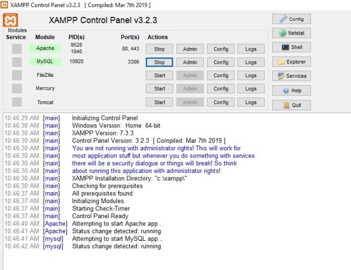 Xampp server for windows