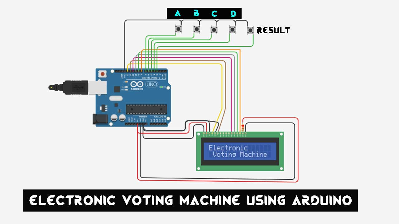 Electronic Voting Machine Using Arduino & LCD Display