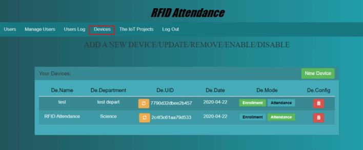 RFID Device Management System using esp32