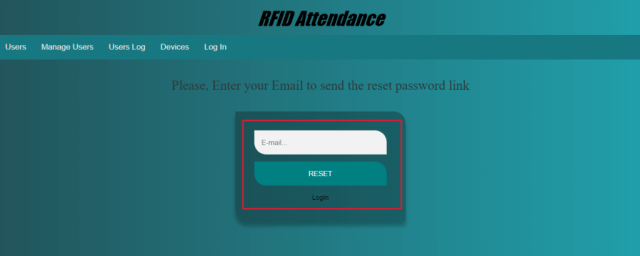 Reset Admin Account Password in RFID Attendance system