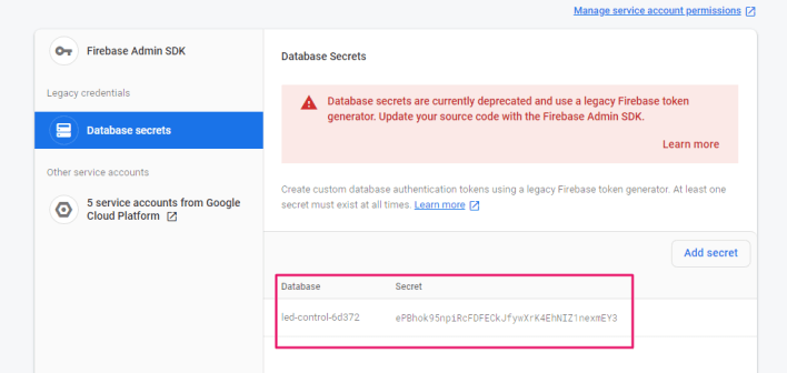 Database secrets on firebase