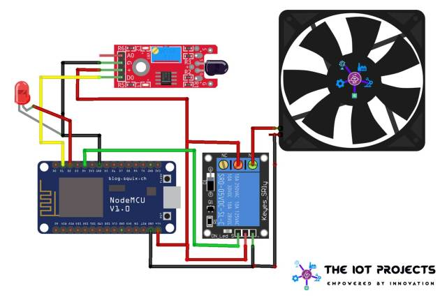 Circuit Diagram of IoT based Fire Detector & Automatic Extinguisher using NodeMCU
