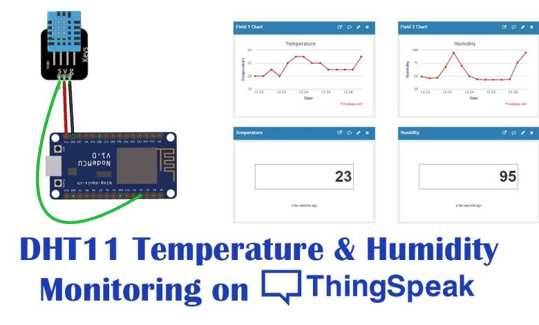 DHT11 Humidity Temperature Monitor with NodeMCU on ThingSpeakv