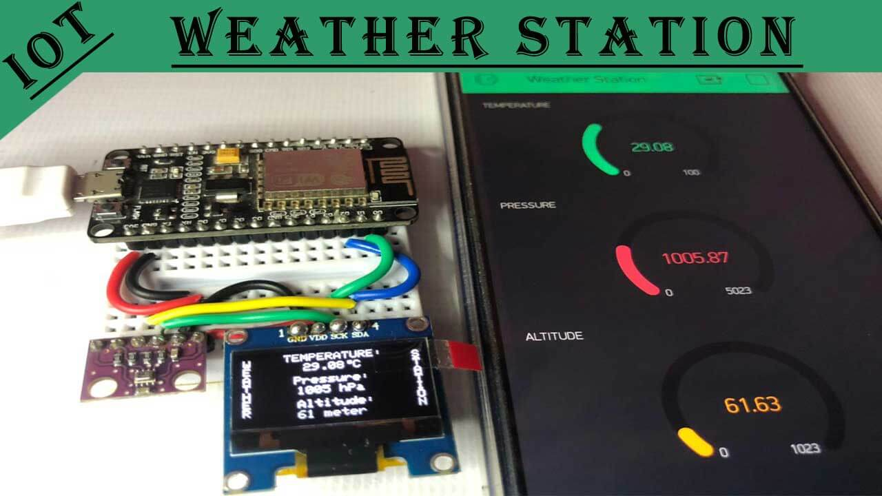 BMP280 Based IoT Weather Station using ESP8266 & OLED Display