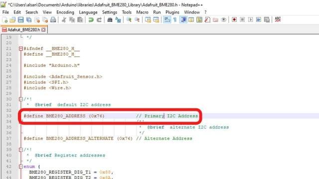 EDIT Default I2C address of BME280 sensor