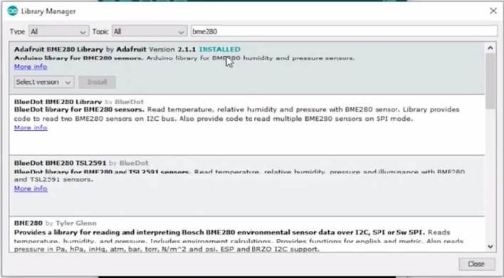 Installing Adafruit BME280 sensor library