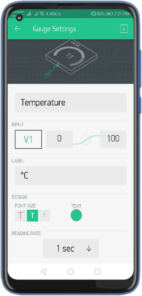 Temperature Gauge Settings for Weather Station