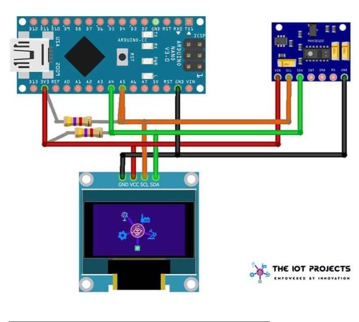 Circuit Diagram Pulse Oximeter using Arduino & MAX30100