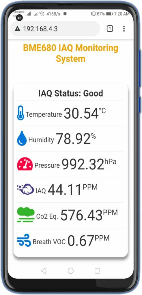 Indoor Air Quality Monitoring with BME680 & ESP8266 Webserver