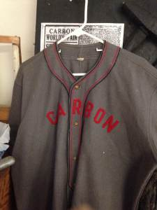 Authentic 1930's wool baseball jersey worn by the Carbon, IA Coal miners team.