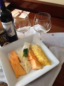 Natasha, from the Coralville Marriott, busting in with some fresh fruit, cheese, crackers and a bottle of Meridian Merlot.