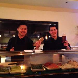 Why yes....yes we do have time for a photo. Alec and John were the evenings sushi chefs rolling up our late night craving.  https://twitter.com/konomi_grill