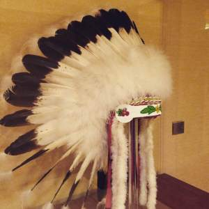 A traditional Meskwaki Indian War Bonnet. On the second floor of the Coralville Marriott.