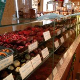 Chocolate row at The Shameless Chocoholic in LeClaire.https://www.facebook.com/TheShamelessChocoholic