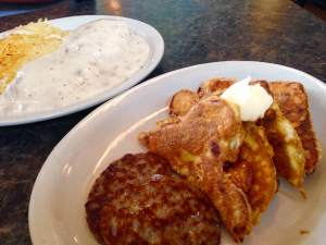 Debbie served us up a couple plates of pure early morning majesty. As you can see, we're still on the biscuits an gravy quest. And that's the SMALL order! Below is J's Apple Fritter French Toast. Made with their homemade bread.  https://www.facebook.com/jshomestylecooking?fref=ts