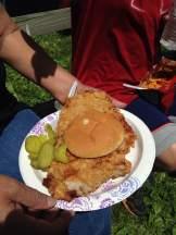 The Iowa classic! Pork Tenderloin from the street vendor in Bentonsport.