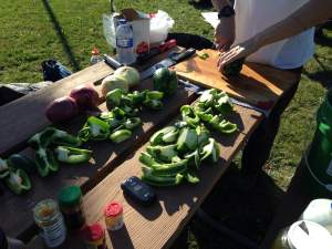 Fresh ingredients were chopped, diced and prepped on site and could be seen making their way in to the pot.