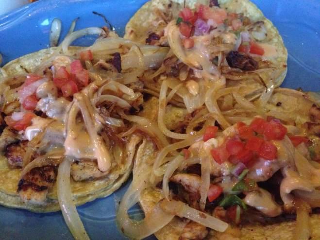 Tacos de la Casa! Fajita chicken, grilled onions, and chipotle creme! Caza Azul in Coralville, IA