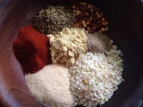 3 tsp onion flake, 2 tsp smoked paprika, 2 tsp dried thyme, 2 tsp dried mustard, 2 tsp granulated garlic, 1 tsp celery salt, 1 tsp red pepper flakes