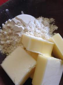 4 tablesppons unsalted butter and 1/4 cup AP white flour