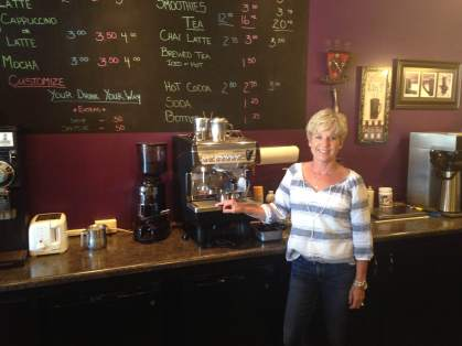 Owner of The Coffee Corner is Jina. Barista's are training up for the RAGBRAI rush.