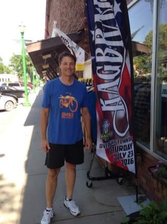 Owner of Joe Desighner, Joe Edwards. When he's not running his printing business or on his bike himself, he's helping Glenwood prep for RAGBRAI.