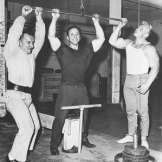 Hugo Labra, George Eiferman, and Dave Draper with a basic lat pull-down set-up