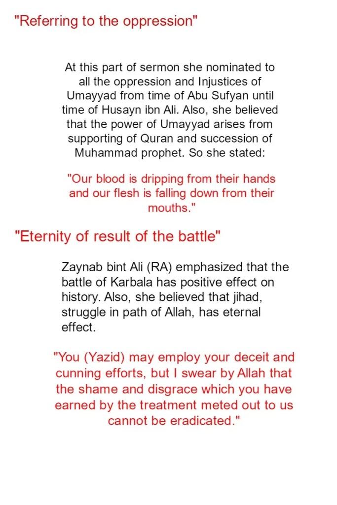 Sermon of Zaynab bint Ali in the court of Yazid 3