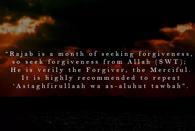 rajab istaghfar hadith