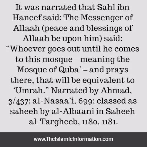 quba mosque wudu umrah reward
