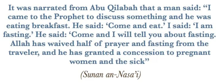 hadith pragnant woman islam fast ramadan