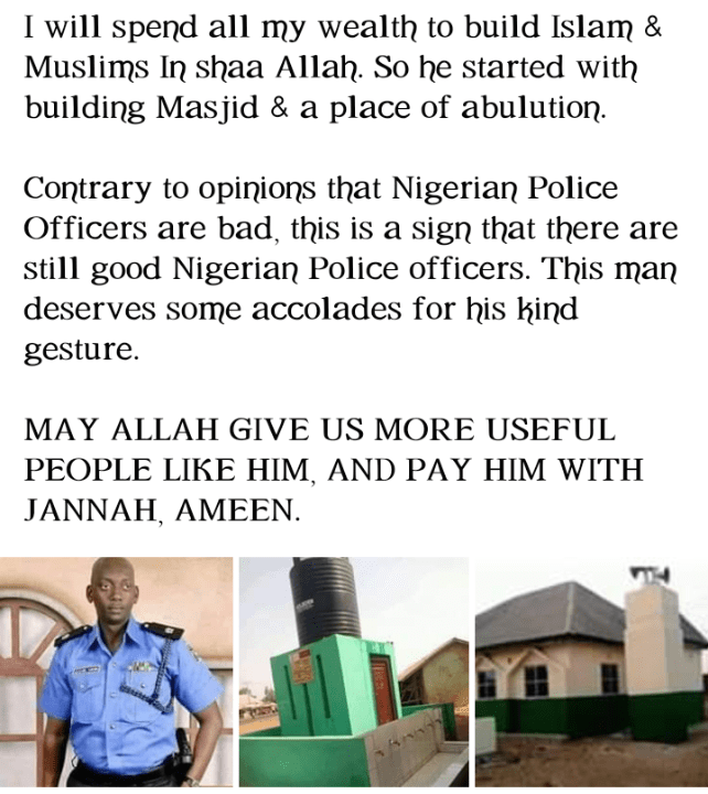 police officer from nigeria who built a mosque
