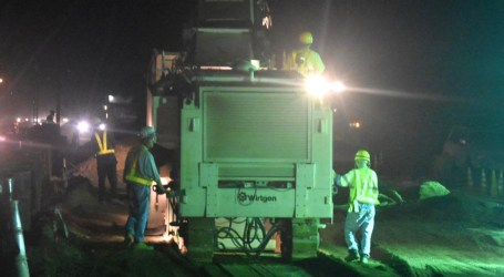 Road work continues into night