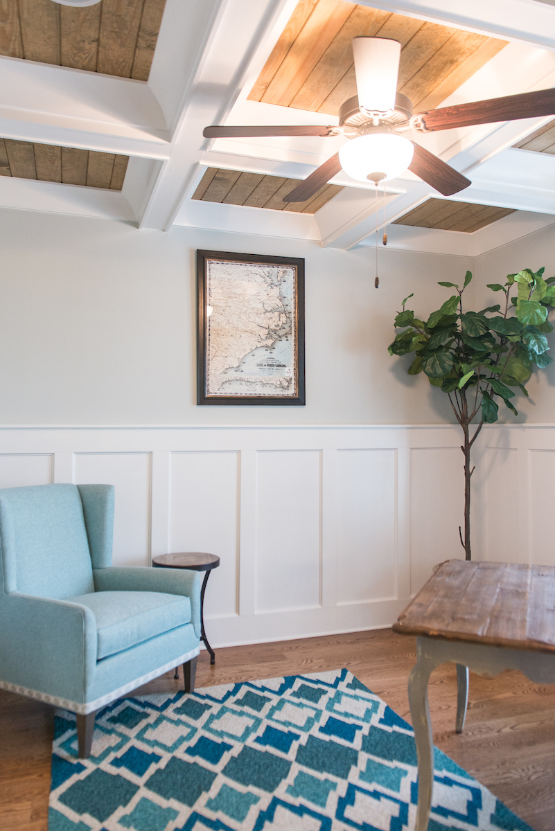 Study - Coffered ceiling with stained tongue & groove paneling accents