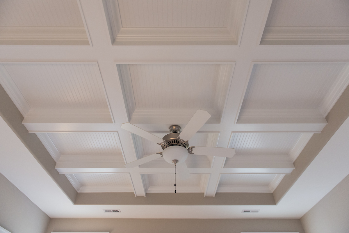 Bedroom - Coffer & beadboard accents inside tray ceiling