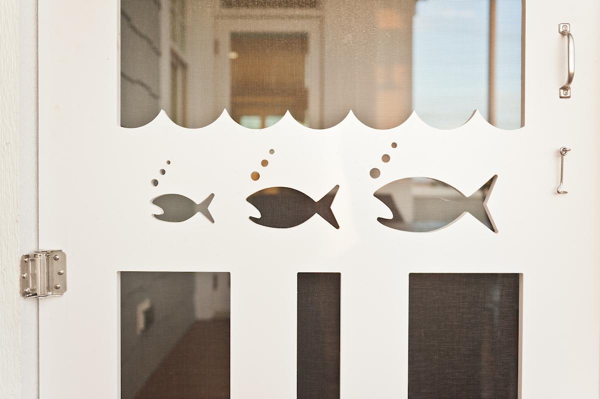 Beach House Screen Door with Coastal Design Fish Details