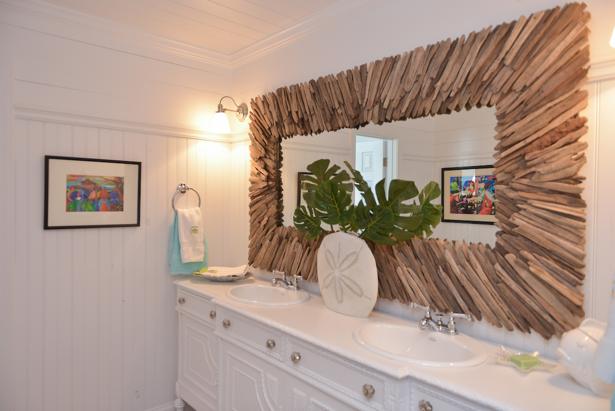 Coastal Design Bathroom with Driftwood Mirror