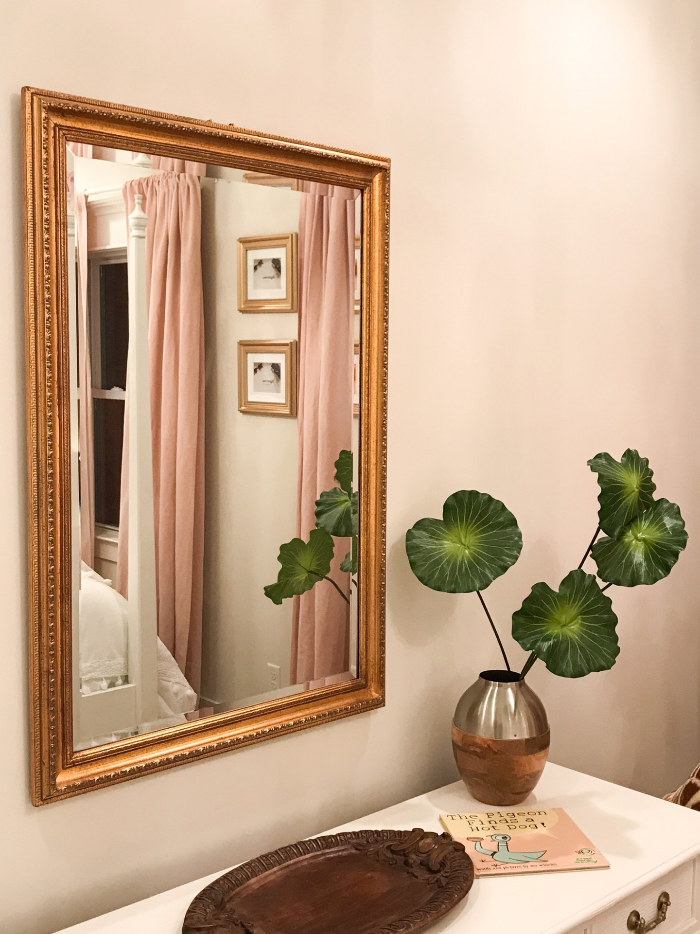 white-dresser-gold-mirror-faux-palms