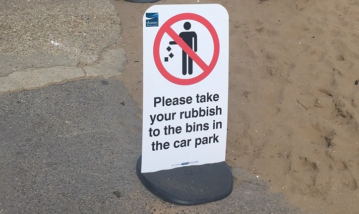 Beach bin sign – Joss Bay2