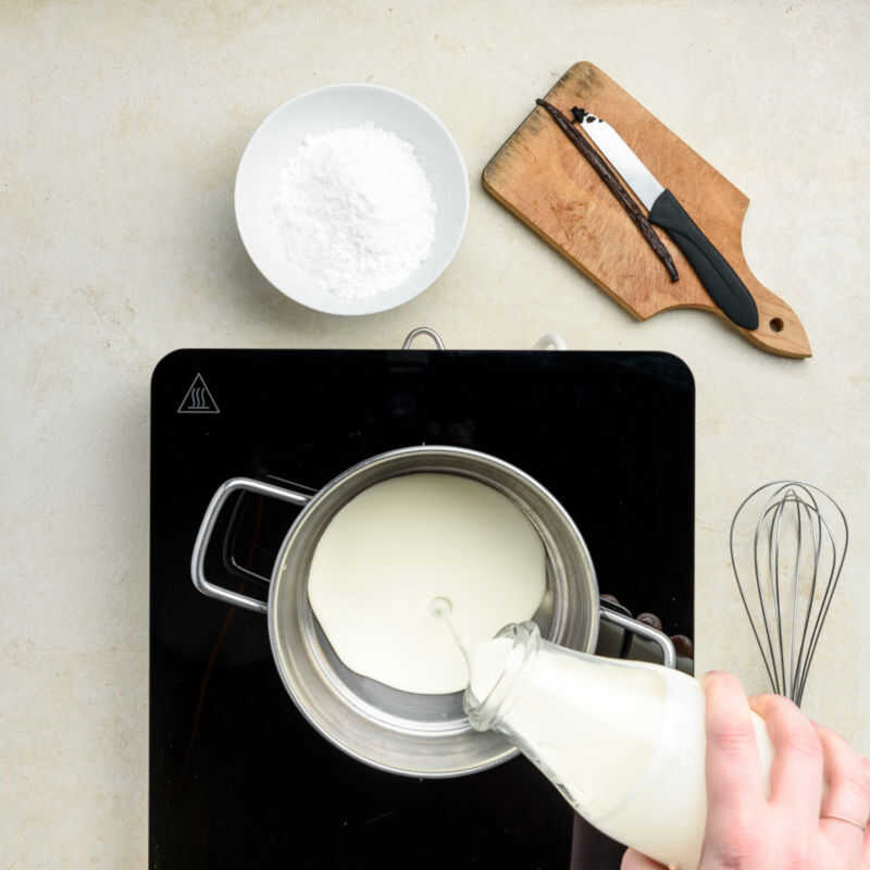 In a medium saucepan heat the heavy cream