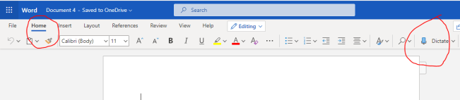 Enable Voice Typing in MS Word