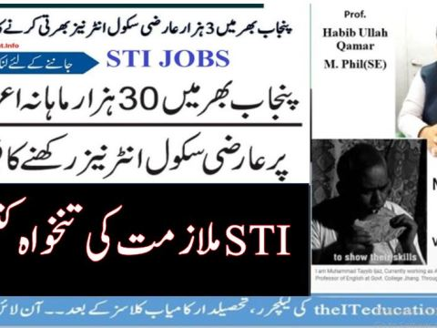 School Teacher Interns STI Jobs Announced By Punjab Government Salary and Stipend