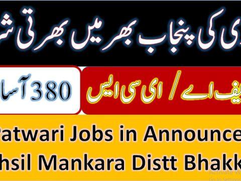 32 Patwari Jobs 2021 in Tehsil mankara bhakkar